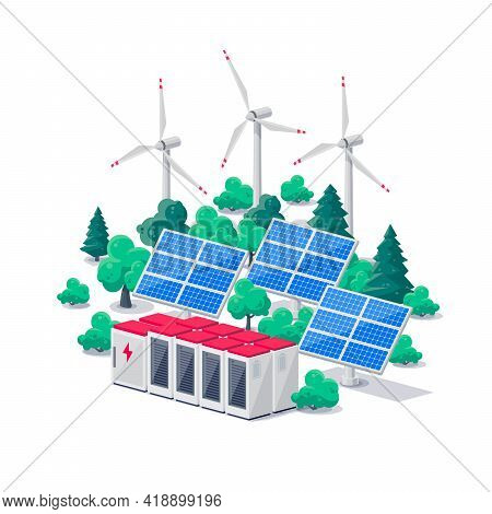 Renewable Energy Electric Power Station Smart Grid System. Isolated Vector Illustration Of Photovolt