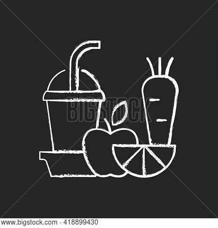 Fresh Juice-to-go Chalk White Icon On Black Background. Fruit And Vegetable Smoothies. Balanced Diet