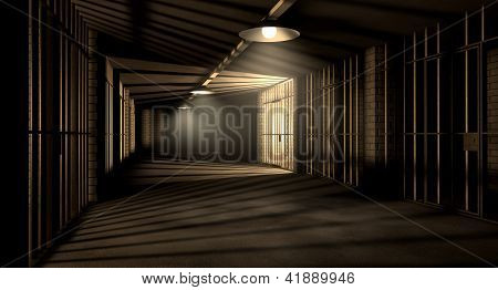 Jail Corridor And Cells