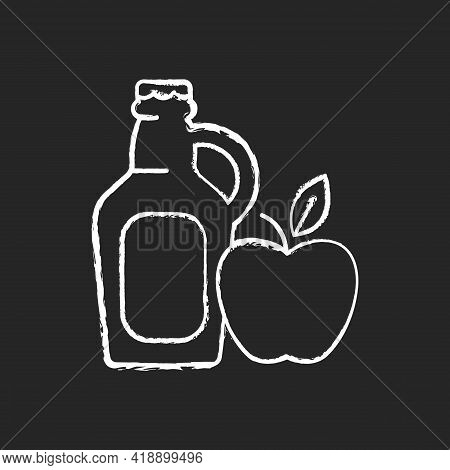 Cider-to-go Chalk White Icon On Black Background. Fermented Apple Juice. Expressed Fruit Beverage. A