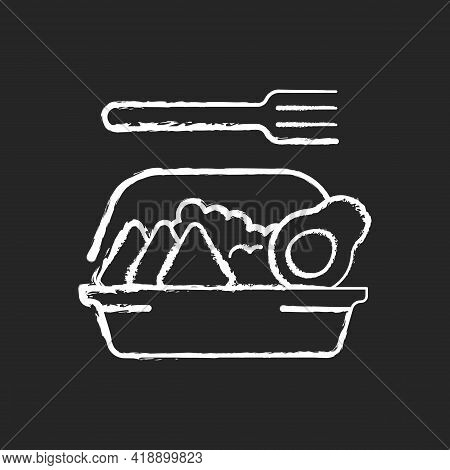 Family-style Meals Takeout Chalk White Icon On Black Background. Dinner For Parents And Kids. Family