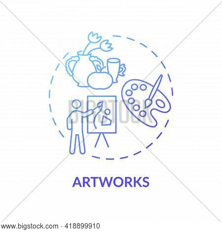 Artworks Concept Icon. Copyright Object Idea Thin Line Illustration. Paper, Canvas, Digital Medium.
