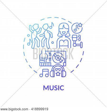 Music Concept Icon. Copyright Object Idea Thin Line Illustration. Artistic Work. Authors Intellectua