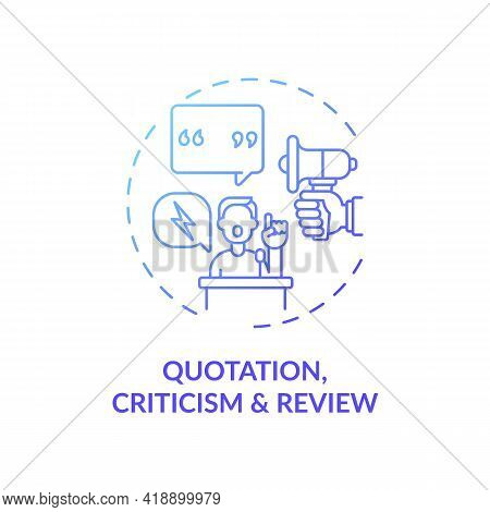 Quotation, Criticism And Review Concept Icon. Exception To Copyright Idea Thin Line Illustration. Co