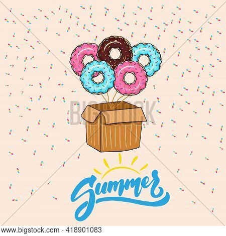Glazed Donuts With Copy Space On A Pastel Background. Summer. Donuts With Sweet Icing. Balloon Donut