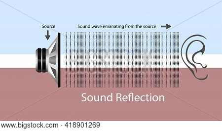 Sounds From A Source Are Going Towards The Ear. Reflection Of The Sound. Reflection Of The Sound Com