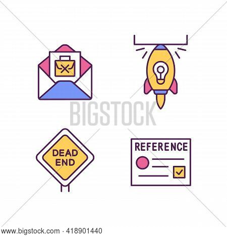 Job Transition And Resignation Rgb Color Icons Set. Career Change Reasons. Dead-end Job. Write Resig