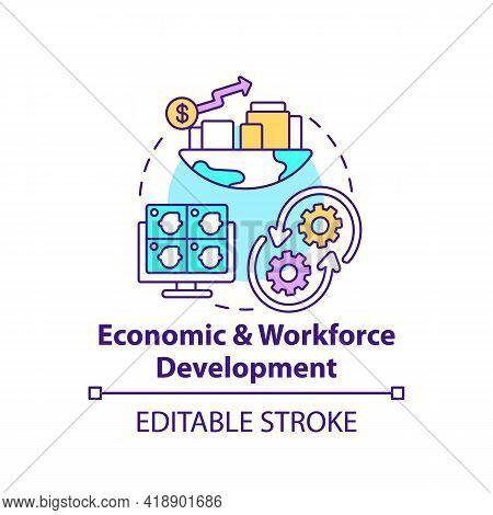 Economic And Workforce Development Concept Icon. Technology Improvement. Financial Management. Digit