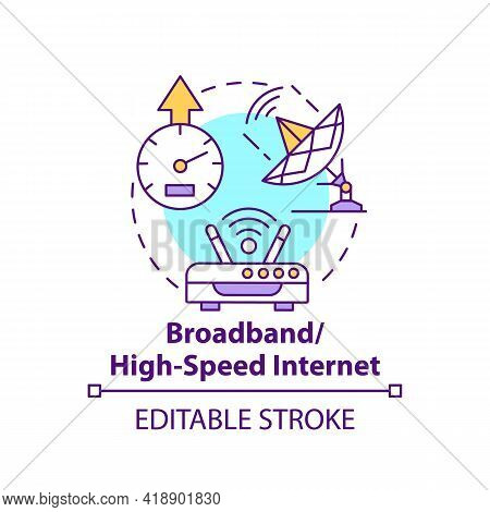 Broadband, High Speed Internet Concept Icon. Broadcasting Telecommunication Signal. Digital Inclusio