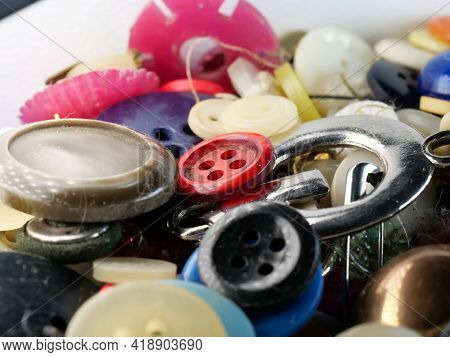 Collection Of Assorted Spare Clothes Buttons. Old Vintage Buttons. Selective Focus.