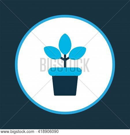 Plant Pot Icon Colored Symbol. Premium Quality Isolated Flowerpot Element In Trendy Style.