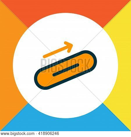 Steps Up Icon Colored Line Symbol. Premium Quality Isolated Escalator Element In Trendy Style.