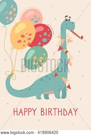 Funny Brontosaurus On A Greeting Card. Dino Plays A Festive Melody. Feast Of Dinosaurs, Buntings And