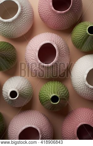 Colorful Flower Pot On Pastel Color Background, Close-up. Pottery Flower Vases As Home Interior Deco