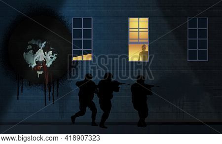 A Police Swat Unit Approaches An Apartment Building. On A Brick Wall Is An Aftican American Man With