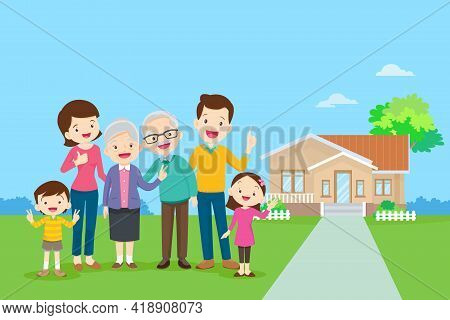 Happy Family In The Background Of His Home. Big Family Together In The Park.happy Elderly Be Happy O