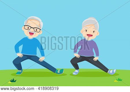 Senior People And Gymnastics. Elderly Couple. Grandparents Doing Exercises. Yoga, Sport. Morning Exe
