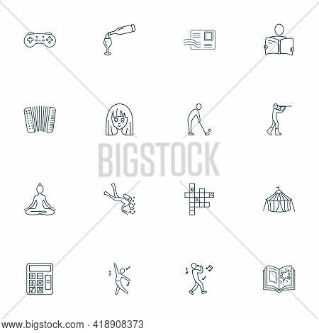 Hobby Icons Line Style Set With Accordion, Diving, Reading And Other Meditation Elements. Isolated I
