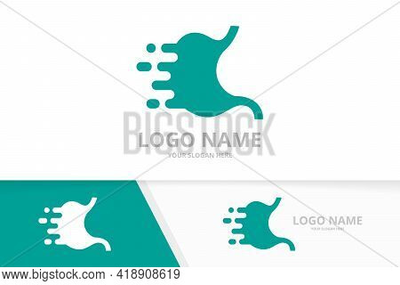 Vector Fast Stomach Logo Combination. Speed Gastrointestinal Tract Logotype Design Template.
