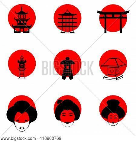 A Set Of Japanese-style Icons On The Background Of The Sun. Japanese Symbols Lantern, Geisha, Pagoda