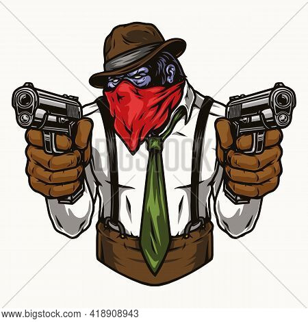 Colorful Vintage Concept Of Gorilla Gangster In Bandana Scarf And Fedora Hat Holding Pistols Isolate