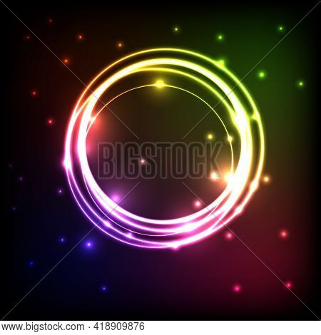 Abstract Background With Circles Colorful Plasma, Stock Vector