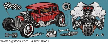 Retro Custom Car Vintage Colorful Concept With Hot Rod And Engine Piston Wrench Spark Plug Brake Dis