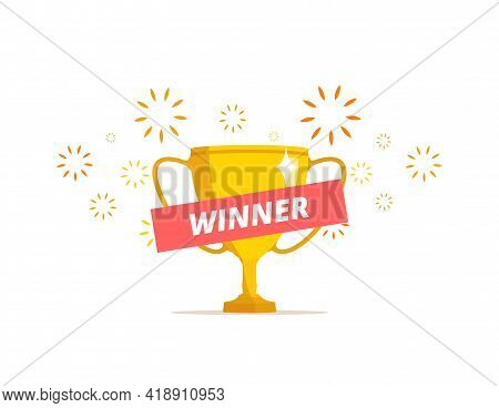 Winner Concept. Trophy Cup Illustration. Vector Illustration With Gold Prize And Festive Sparks.