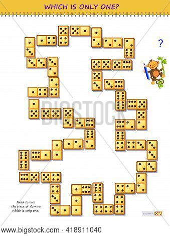 Logic Puzzle Game For Children And Adults. Find The Piece Of Domino Which Is Only One. Page For Kids