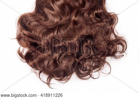 Brown Hair Texture. Wavy Long Curly Light Brown Hair Close Up Isolated On White. Hair Extensions, Ma