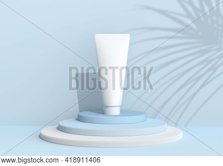 Empty Skin Care Tube For Mocap Label. Cosmetics On The Catwalk With Shadow. Blue Pastel Illustration