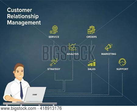 Customer Relationship Management - Crm Concept/ Vectro Flowchart. Businessman Work On Laptop With Cr