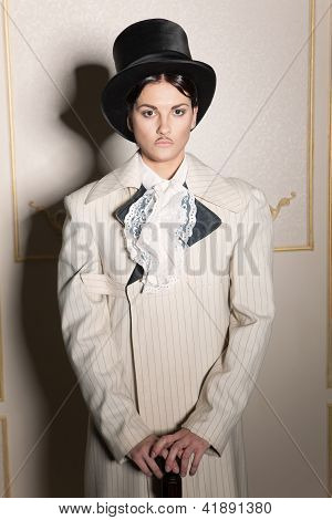 Woman In Old-fashioned Men's Clothing