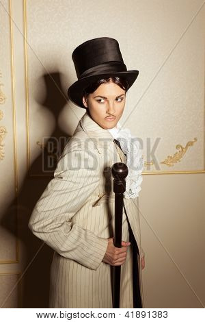 Portrait Of Woman In Men's Old-fashioned Clothing