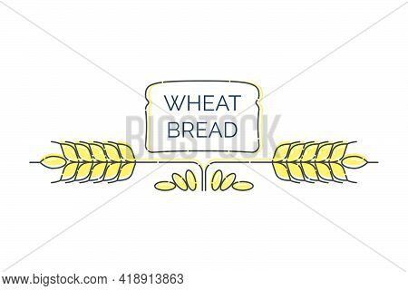 Two Wheat Spikes With Scattered Grains And Over Them Loaf Bread. Line Whole Grain Symbol Illustratio