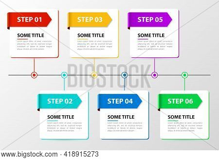 Infographic Design Template. Timeline Concept With 6 Steps. Can Be Used For Workflow Layout, Diagram