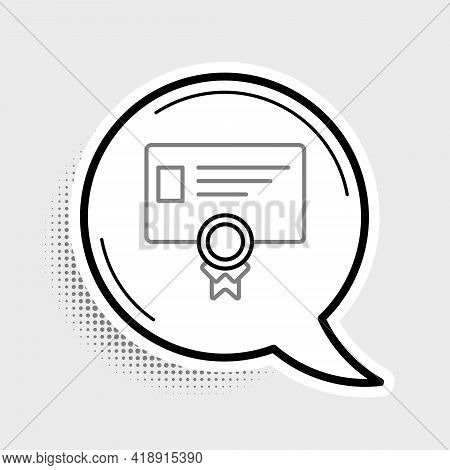 Line Certificate Template Icon Isolated On Grey Background. Achievement, Award, Degree, Grant, Diplo