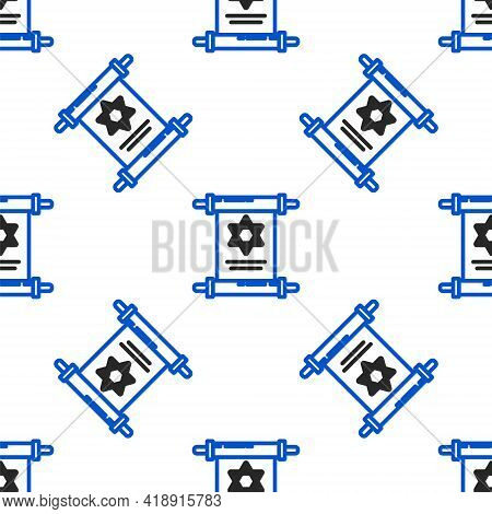 Line Torah Scroll Icon Isolated Seamless Pattern On White Background. Jewish Torah In Expanded Form.