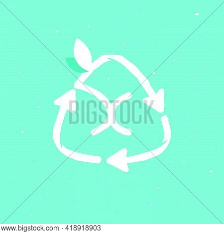 X Letter Logo Inside Reuse Sign In Grunge Linear Style. Flat Design Of Recycling Symbol And Leaves F