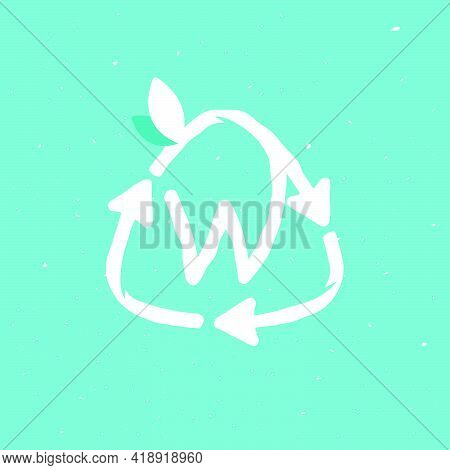 W Letter Logo Inside Reuse Sign In Grunge Linear Style. Flat Design Of Recycling Symbol And Leaves F