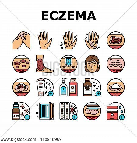 Eczema Disease Treat Collection Icons Set Vector. Nummular And Neurodermatitis Eczema Treatment, Dry
