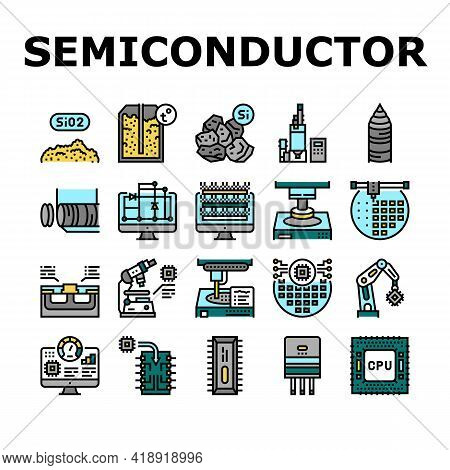Semiconductor Manufacturing Plant Icons Set Vector. Installation Semiconductor On Board And Testing,