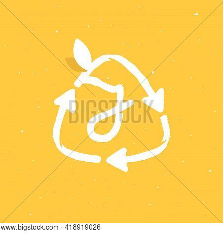 J Letter Logo Inside Reuse Sign In Grunge Linear Style. Flat Design Of Recycling Symbol And Leaves F