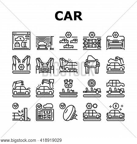 Car Factory Production Collection Icons Set Vector. Car Factory Equipment And Conveyor For Welding P