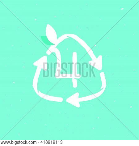 Number Four Logo Inside Reuse Sign In Grunge Linear Style. Flat Design Of Recycling Symbol And Leave