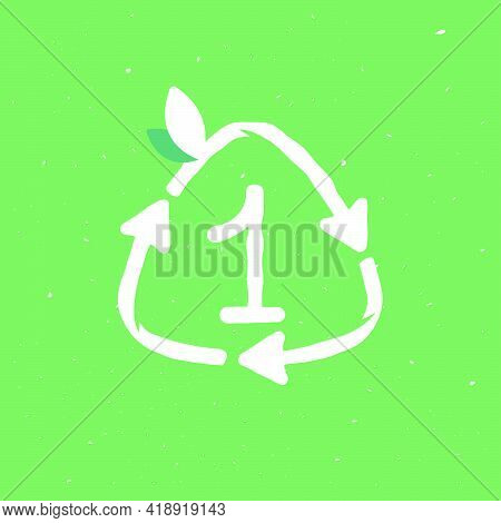 Number One Logo Inside Reuse Sign In Grunge Linear Style. Flat Design Of Recycling Symbol And Leaves