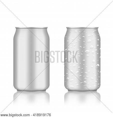Warm And Cold Clear Aluminum Cans On White