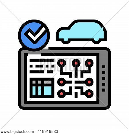 Testing Computer Electronic System Car Color Icon Vector. Testing Computer Electronic System Car Sig