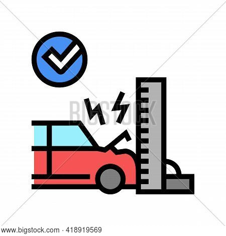 Crash Test Car Color Icon Vector. Crash Test Car Sign. Isolated Symbol Illustration
