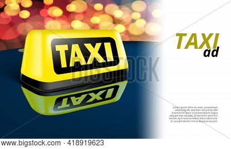 Yellow Glowing Taxi Automobile Sign On Night Car